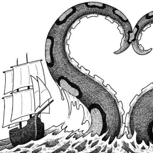 Das Schiff und der Riesenkrake